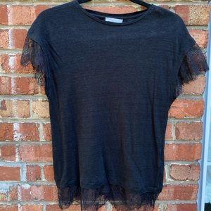 ZARA black shirt with lace hem detailing